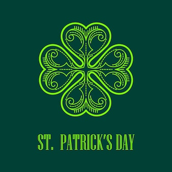 Monogramma lineare saint patricks day card. illustrazione