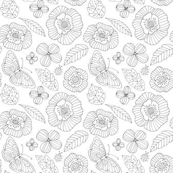 Modello lineare con fiori e farfalle