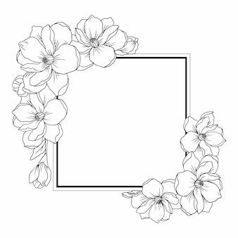 Modello lineare con sfondo cornice fiori di orchidea
