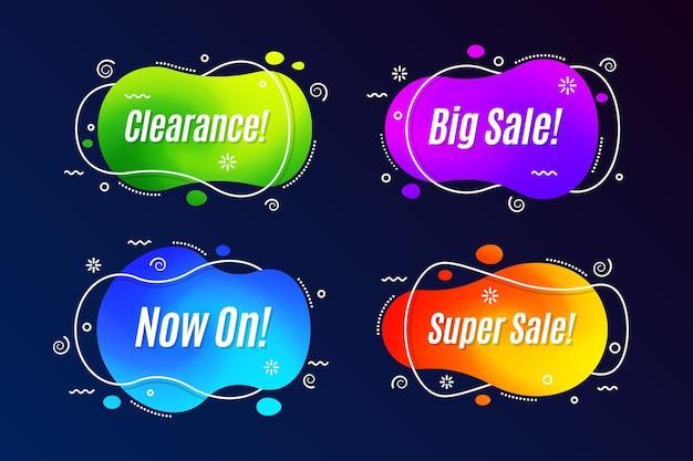 Set di modelli di forma di banner di promozione lineare.