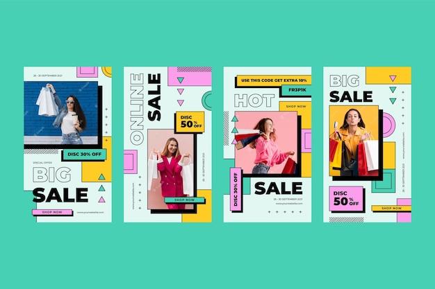 Foto di set di storie di instagram di vendita lineare