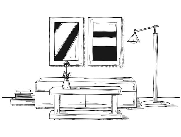 Schizzo lineare di un interno. divano, tavolo, lampada e foto illustrazione disegnata a mano di uno stile di schizzo.