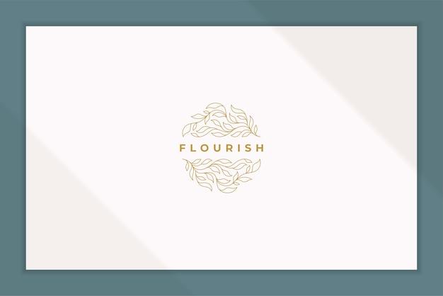 Emblema di stile lineare di eleganti foglie di piante disposte in cerchio come simbolo di fioritura