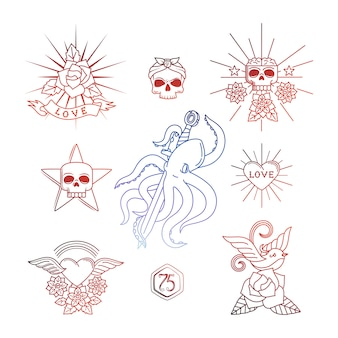 I tatuaggi lineari con gli elementi del cranio vector l'illustrazione