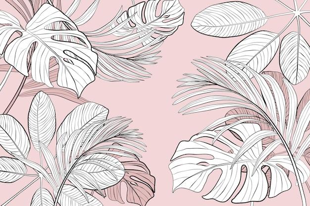 Sfondo di foglie tropicali lineari