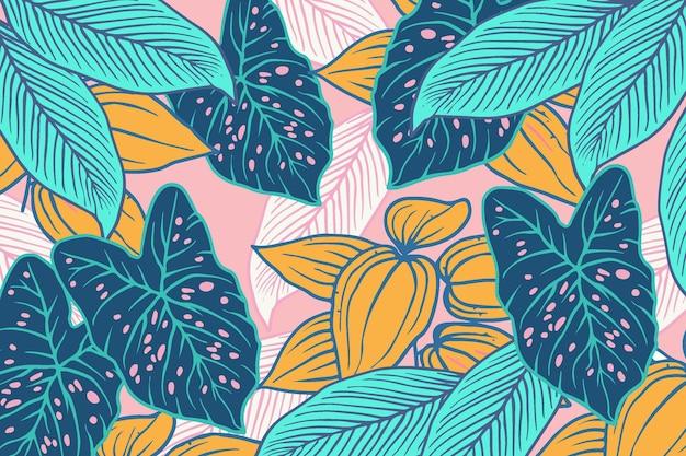 Foglie tropicali lineari con sfondo di colore pastello