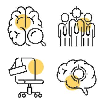 Illustrazioni vettoriali lineari di set di icone di contorno create per la campagna di reclutamento in ufficio