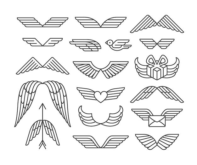 Set di ali e icone lineari.