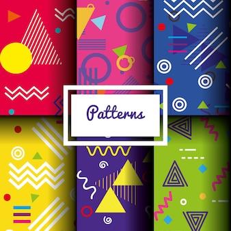 Linee figure e modelli di colori impostati Vettore Premium