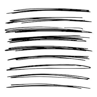 Insieme di grunge disegnato a mano di linee. linee astratte di doodle nero isolate su priorità bassa bianca. illustrazione vettoriale