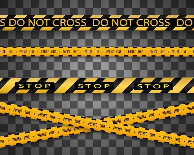 Linee isolate. nastri d'avvertimento. attenzione. segnali di pericolo. illustrazione giallo con linea di polizia nera e nastri di pericolo. illustrazione.