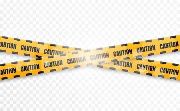 Linee isolate nastri d'avvertimento. attenzione. segni di pericolo. illustrazione vettoriale giallo con linea di polizia nera e nastri di pericolo. illustrazione vettoriale