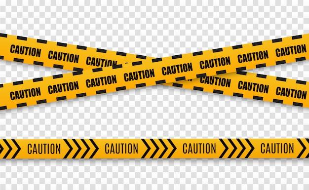 Linee isolate nastri d'avvertimento. attenzione. pericolo. giallo con linea di polizia nera e nastri di pericolo.