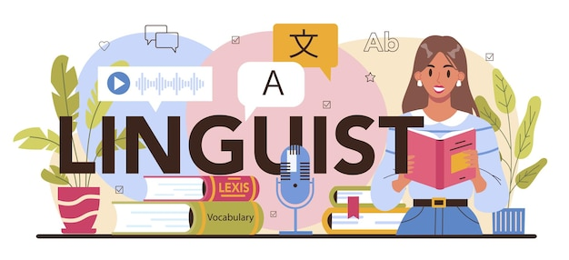 Traduttore di intestazione tipografica linguista che traduce libri di documenti