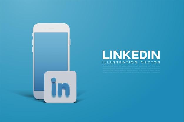 Linkedin 3d con smartphone e logo