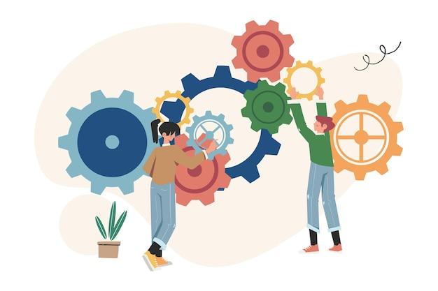 Collegamenti di meccanismo, meccanismo aziendale, le persone sono impegnate nella promozione aziendale
