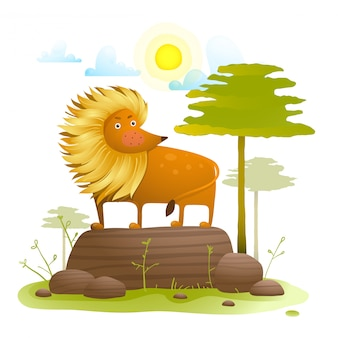 Fumetto animale del leone in natura selvaggia con gli alberi prato inglese e roccia