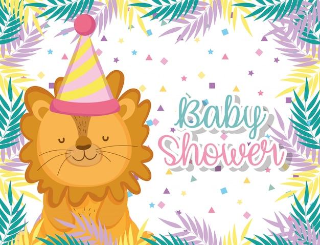 Leone nella celebrazione della doccia di bambino con cappello e piante