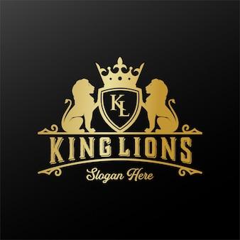 Modello di progettazione di logo distintivo del leone.