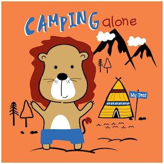 Leone in campeggio in montagna divertente cartone animato animale