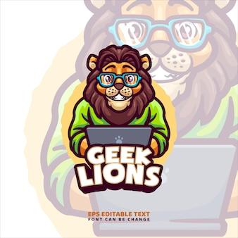 Modello di logo della mascotte del fumetto del leone