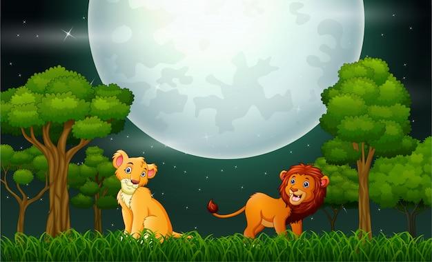 Fumetto del leone che rugge sul paesaggio della natura