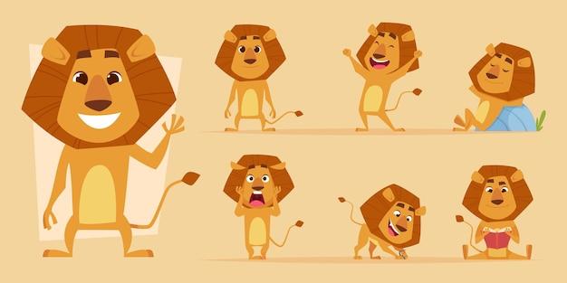 Cartone animato leone. l'animale africano selvaggio nell'azione posa il vettore dei caratteri dei leoni di safari isolato. felicità del predatore di leone e illustrazione della mascotte spaventosa, affamata e amichevole