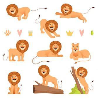 Cartone animato leone collezione di personaggi di orgoglio leoni adorabili di animali selvatici cacciatore di safari in pelliccia gialla che corre selvaggia