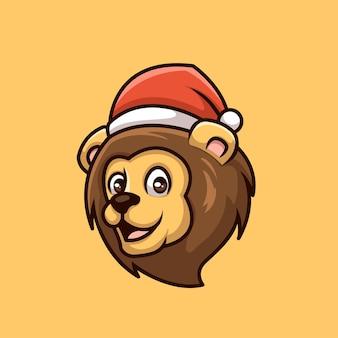 Logo della mascotte del personaggio dei cartoni animati creativo di natale del leone
