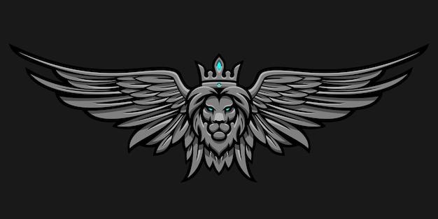 Leone in corona e ali su uno sfondo scuro in vettoriale eps 8
