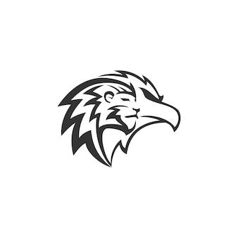 Disegno della mascotte dell'emblema dell'illustrazione della testa dell'aquila del leone modello