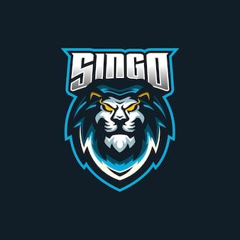Modello di logo della mascotte di gioco lion esport