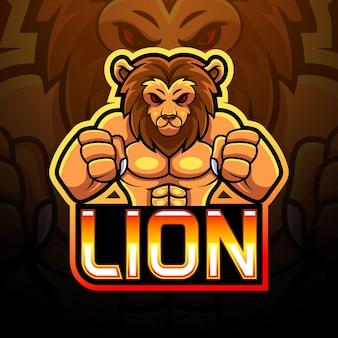 Disegno della mascotte del logo di lion esport