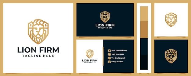 Mascotte di progettazione di logo dell'azienda del leone con il concetto di biglietto da visita