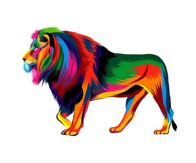 Leone da vernici multicolori spruzzata di disegno colorato ad acquerello realistico