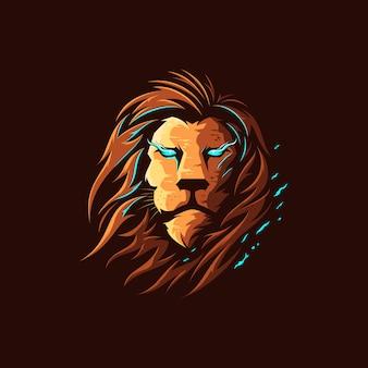 Logo dell'illustrazione di colore pieno del leone