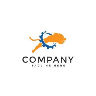 Lion gear logo vector