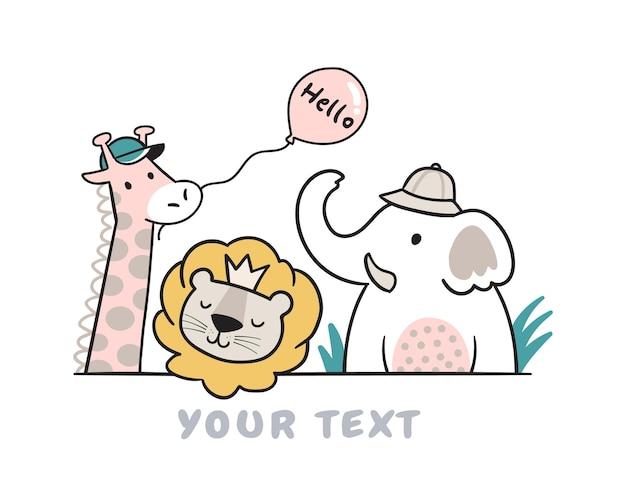 Giraffa leone ed elefante doodle per bambini