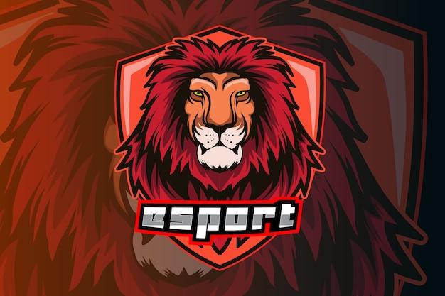Modello di logo della squadra di e-sports testa di leone