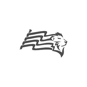 Disegno della mascotte dell'emblema dell'illustrazione della bandiera della testa di leone modello