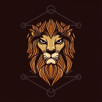 Illustrazione disegnata a mano testa di leone