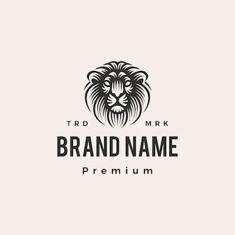 Illustrazione dell'icona di logo vintage hipster testa di leone