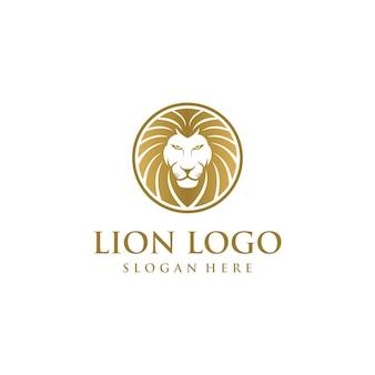 Concetto di design logo testa di leone Vettore Premium
