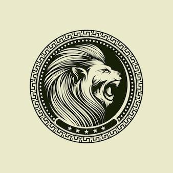 Logo della testa del leone isolato su bianco