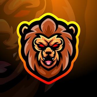 Illustrazione di esport mascotte testa di leone