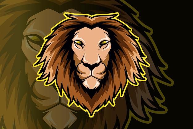Design del logo mascotte testa di leone