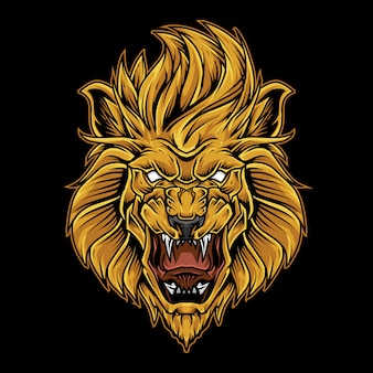 Illustrazione del logo della mascotte della testa del leone
