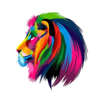 Ritratto di testa di leone da vernici multicolori spruzzata di disegno colorato ad acquerello realistico