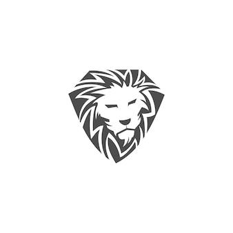 Modello di disegno della mascotte dell'emblema dell'illustrazione dello scudo della testa di leone