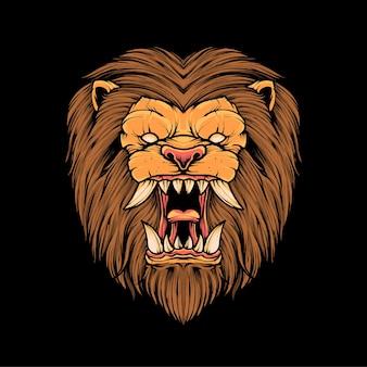 Illustrazione della maglietta della testa di leone vettore premium